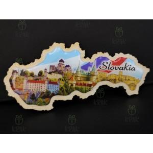 Drevená magnetka so živicou Slovensko mapa 1657 - 1