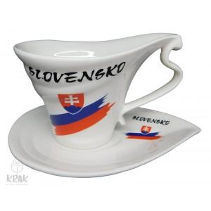 """Porcelánová šálka """"slza"""" - dekor 6 - """" Slovensko """" - 2130  - 2"""