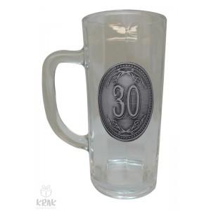 """Pivový krígeľ - 0,3l - kov dekor - """"K jubileu 30"""" 2211 - 3"""