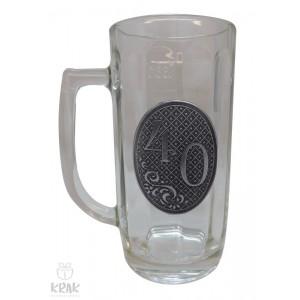 """Pivový krígeľ - 0,3l - kov dekor - """"K jubileu 40"""" 2211 - 4"""