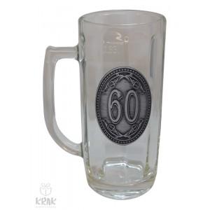"""Pivový krígeľ - 0,3l - kov dekor - """"K jubileu 60"""" 2211 - 6"""