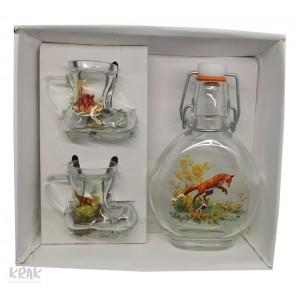 """Sada """"Bocksbeutel"""" - Fľaša + 2 poháre - Poľovnícky motív - 1"""
