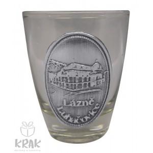 "Štamperlík ""mini"" - číre sklo - kov dekor - motív ""Lázně Luhačovice"" - sada 6 kusov - 2496-6"