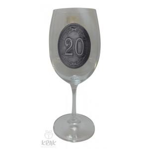 """Pohár na víno - číre sklo - kov dekor - """"K jubileu 20"""" - 2605-5"""