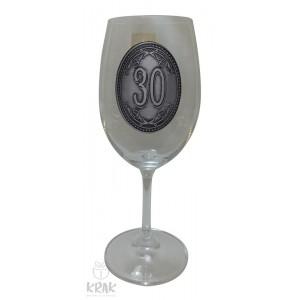 """Pohár na víno - číre sklo - kov dekor - """"K jubileu 30"""" - 2605-4"""