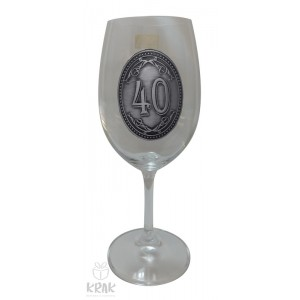 """Pohár na víno - číre sklo - kov dekor - """"K jubileu 40"""" - 2605-3"""