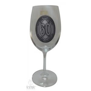 """Pohár na víno - číre sklo - kov dekor - """"K jubileu 60"""" - 2605-1"""