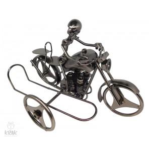 """Kovový stojan na víno """"Motorkár"""" (bez fľaše) - 3528 - 1"""