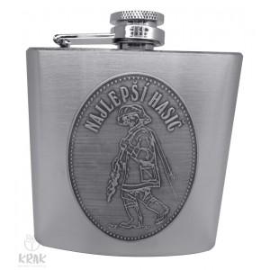 """Kovová fľaška """"ploskačka"""" stredná s kov. dekorom - Najlepší hasič - 2625 - 9"""