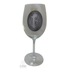 """Pohár na víno - číre sklo - kov dekor - """"K jubileu 1..."""
