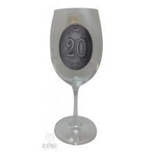 """Pohár na víno - číre sklo - kov dekor - """"K jubileu 2..."""