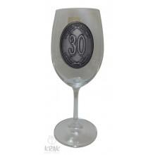 """Pohár na víno - číre sklo - kov dekor - """"K jubileu 3..."""