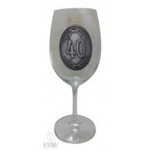 """Pohár na víno - číre sklo - kov dekor - """"K jubileu 4..."""