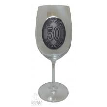 """Pohár na víno - číre sklo - kov dekor - """"K jubileu 5..."""