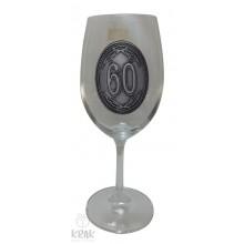 """Pohár na víno - číre sklo - kov dekor - """"K jubileu 6..."""