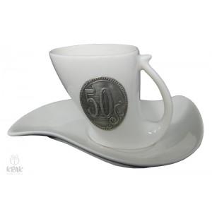 """Porcelánová šálka """"malá"""" kov - """"k jubileu 50"""" -  2131 - 4"""