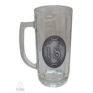 """Pivový krígeľ - 0,3l - kov dekor - """"K jubileu 18"""" 2211 - 1"""