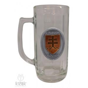 """Pivový krígeľ - 0,3l - kov dekor - """"Slovenský znak - erb"""" 2211 - 10"""
