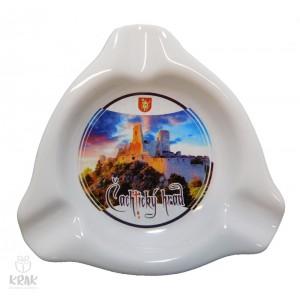 """Keramický popolník - triangulár - dekor 1 - """" Čachtický hrad """" - 2349 - 1"""