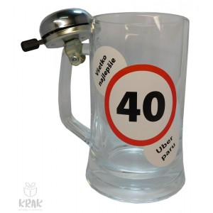 """Pivový krígeľ """"Pub"""" 0,5l so zvončekom  - """"K jubileu 40"""" 2516 - 1"""