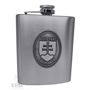"""Kovová fľaška """"ploskačka"""" veľká s kov. dekorom - Slovenský znak - erb - 2599 - 1"""