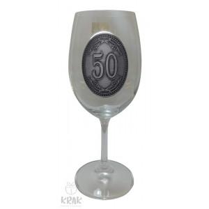 """Pohár na víno - číre sklo - kov dekor - """"K jubileu 50"""" - 2605-2"""