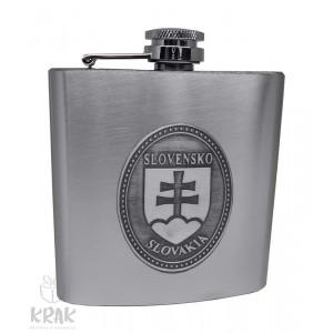 """Kovová fľaška """"ploskačka"""" stredná s kov. dekorom - Slovenský znak - erb - 2625 - 1"""