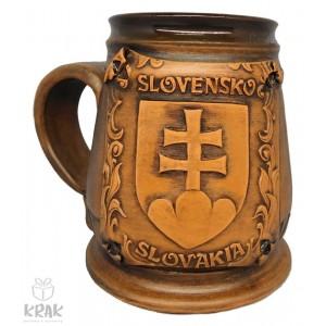 """Keramický krígeľ 500 ml.  """"Slovenský znak - erb"""" 3525- 21"""